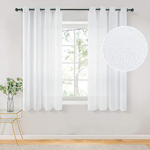 Topfinel Voile Vorhänge mit Ösen Halbtransparent Gardine Leinenstruktur Garn Muster Fensterschal für Zimmer, Büro, 2er Set 160x140 (HxB) Weiß