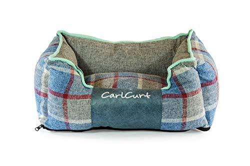 CarlCurt - Fashion Line: Kuschelweiches Hundebett Mit Angenehmen Weichen Kissen Und Strapazierfähigen Außenteil Aus Leinengwebe, M 83 x 74 x 28cm, Blau-Grau