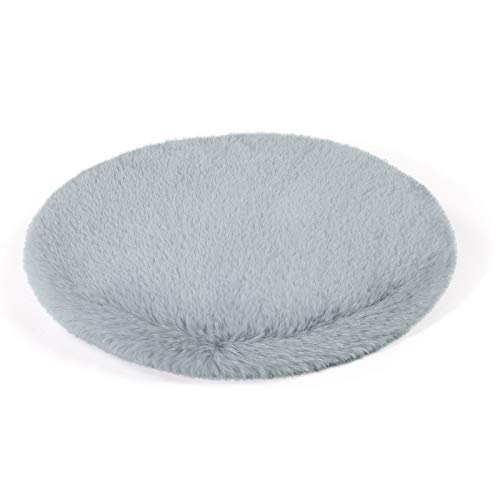 Shinnwa Grey Round Dorm Fur Chair Cushion Pad with Furry Faux Fur Cover Small Mini Cute Seat Cushion for Kids Desk Chair Teen Girls Bedroom Décor 14 Inch
