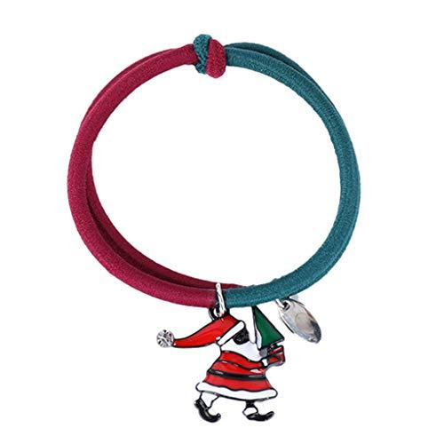 Leiouser - Cordones para el cabello con temática de Navidad, con dibujos animados de Santa Elk muñeco de nieve colgante de esmalte para coleta, banda elástica de goma, accesorios para el cabello