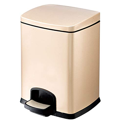 Mülleimer mit Fußpedal, für Badezimmer, Küche, schmale Räume, gebürsteter Edelstahl, 5 l, goldfarben