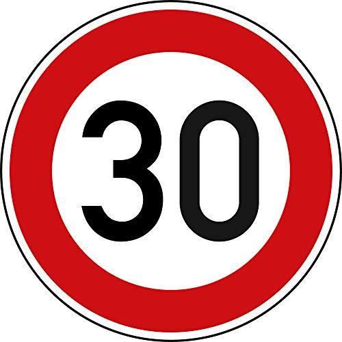 Verkehrszeichen Zulässige Höchstgeschwindigkeit 30 Nr. 274-30 | Ø 600mm, Alu 2mm, RA1 | Original Verkehrsschild nach StVO mit RAL Gütezeichen | Dreifke®