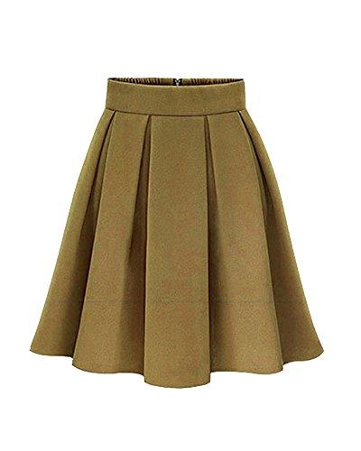 Mujer A-Línea Color Sólido Mini Elasticidad Faldas Plisadas Cintura Alta Falda Amarillo 4XL