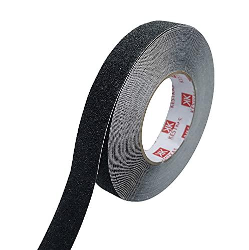 Cinta Antideslizante Adhesiva Resistente 25mm x 15m KESTKAS para Interiores y Exteriores - No deja residuos - Fácil de cortar con la mano