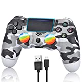 Wireless Controller for PS4 - Remote Joystick for Sony Playstation 4 with Charging Cable and Double Shock (Gray Camouflage,2021 New)