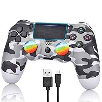 Wireless Controller for PS4 - Remote Joystick for Sony Playstation 4 with Charging Cable and Double Shock  Gray Camouflage,2021 New