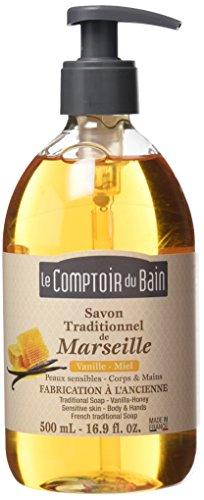 Le Comptoir du Bain Savon de Marseille Liquide Vanille Miel 500 ml - lot de 3