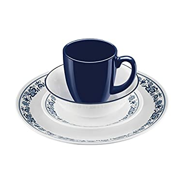 Corelle 16 Piece Old Town Blue Livingware Dinnerware Set, White