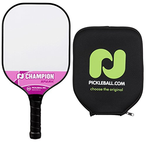 Pickle-Ball Champion Spark Pickleball Paddle   Composite Paddle   Polypropylene Honeycomb Core   Fiberglass Face   Lightweight (Purple + Cover)