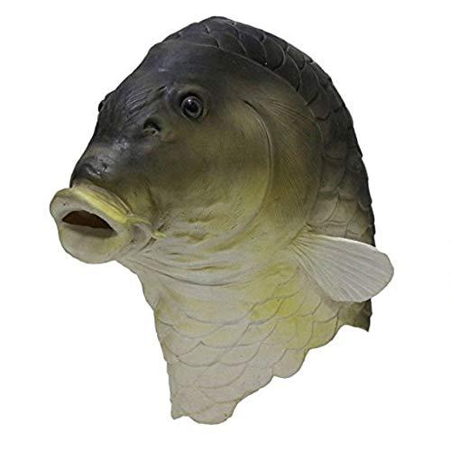 tytlmask Fischmasken Grüner Karpfen-Latex-Maske, Reizender Roter Fisch des Vollen Kopfes Im Tier-Thema Party-Maske, Goldfisch Für Kostüm-Party-Ballkleid Grün