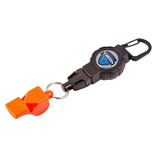 T-REIGN Retractable Gear Tether avec Fox40 Sifflet, Noir/Orange