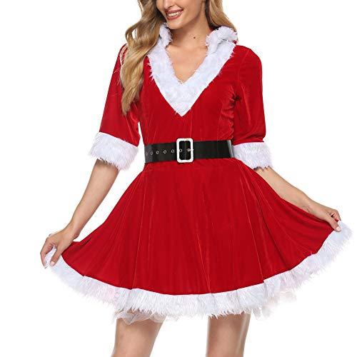 Disfraz Fever de Mamá Noel, Disfraz de Navidad Mujer Vestido Rojo de Terciopelo Princesa Traje de Santa Mamá Noel Fiesta Chicas Cosplay Christmas Ropa de Navidad Adulto (Rojo, S)