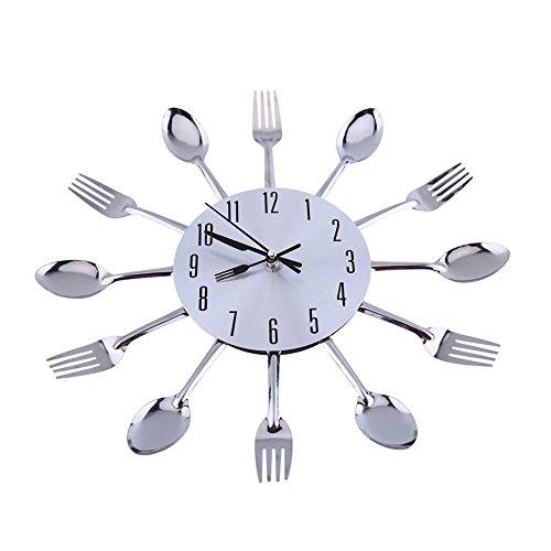 Löffel Gabel Uhr, Yevenr Küchenwanduhr Große Löffel Gabel Wanduhr 3D Küchenutensilien Wanduhr Besteck Wanduhr Silber