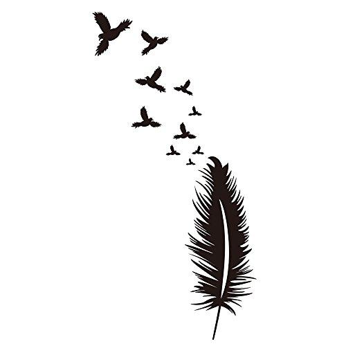 Winhappyhome Fly Birds Feather Art Stickers Muraux pour Chambre D'Enfants Chambre Fond Salon TV Nursery Amovibles Decor Stickers