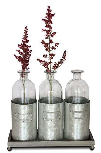 Urban Legacy Glass Vases Metal Sitting Holder for Table Top, (Tall, Tin Box, Triple Vase, Galvanized, Milk Bottle, 12 inches)