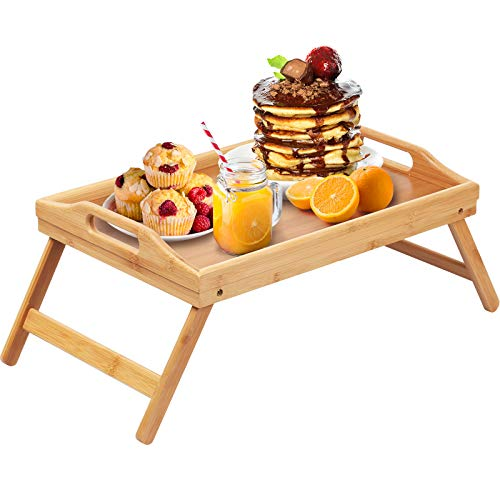 Bamboo Bed Tray Table Folding Legs with Handles,Kids Small Breakfast Tray for Sofa, Bed,Eating,Drawing,Platters Serving Lap Desk Snack Tray