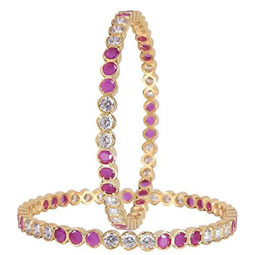 Ratnavali Jewels CZ Zirkonia Gold Tone Roter Diamant Indische Armreifen Bollywood Schmuck Frauen