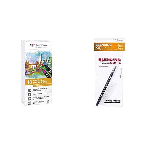 Tombow Pluma ABT-18P-2 Fiber Pen Dual Brush con dos puntas, juego de 18 secundarios + Mezclador Blending Tombow