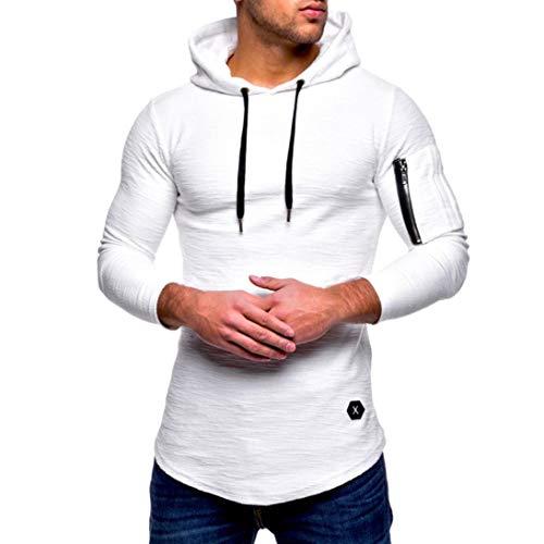 Yvelands Liquidación Moda Casual para Hombres Hermoso O-Cuello con Cremallera Camiseta de Manga Larga a Rayas con Corte Slim Camiseta con Capucha sólida Blusa ¡Caliente!