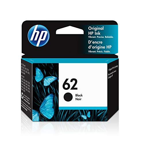 HP 62 | Ink Cartridge | Works with HP ENVY 5500 Series, 5600 Series, 7600 Series, HP Officejet 200, 250, 258, 5700 Series, 8040 | Black | C2P04AN