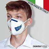 DERMAMASK – Mascherina Protettiva Antipolvere Traspirante in Tessuto Filtrante Antibatterico Idrofobico TNT (3 strati protettivi) - 100% Made in Italy (5, Tricolore)