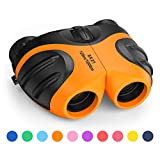 LET'S GO! Binoculars for Kids Outdoor Toys for 3-12 Years Old Kids, 8X21 High Resolution Compact Waterproof Bird Watching Foldable Binocular Perfect for Travel,Camping,Hiking,Birthday Xmas(Orange)