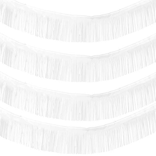 4 Packs 10 Feet Foil Fringe Garland Metallic Foil Tinsel Fringe Garland Wall Hanging Fringe Banner for Wedding Birthday Parties Holiday Decorations and More (White)