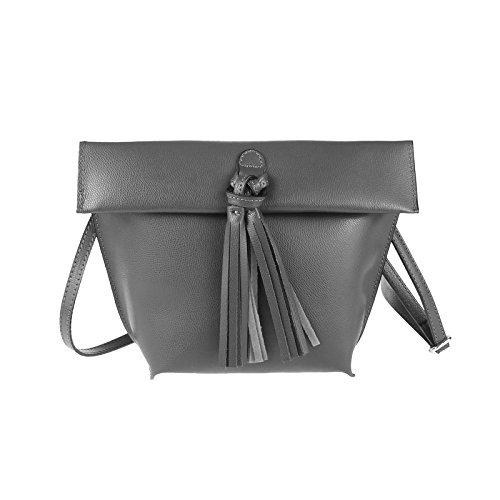 OBC Made in Italy Damen Ledertasche Schultertasche Umhängetasche Borsetta Schmucktasche Handtasche Henkeltasche (Grau)
