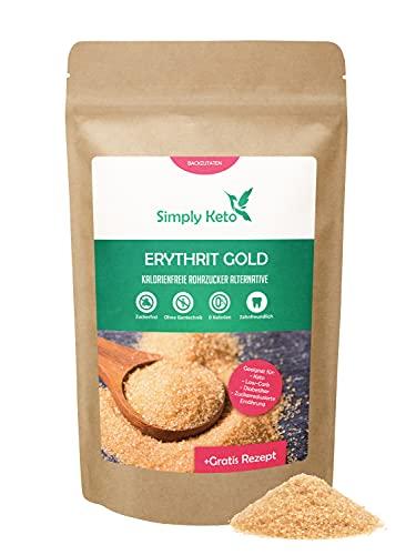 Simply Keto Erythrit Gold 400g - Kalorienfreier brauner Zucker Ersatz mit Karamellnote - Vegane Rohzucker-Alternative aus Erythritol - 70{8657e3e3a45aa5e2f52d99cee8d4216384105a95c3dbc7a306becc1d24c16759} der Süßkraft von Zucker - Low Carb & Keto geeignet