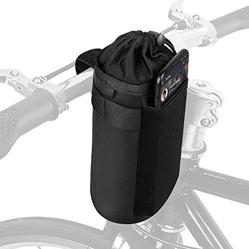 Hoypeyfiy Bolsa isotérmica para manillar de bicicleta para botella de agua, bolsa isotérmica para botella de agua hikenture con soporte para botella de agua