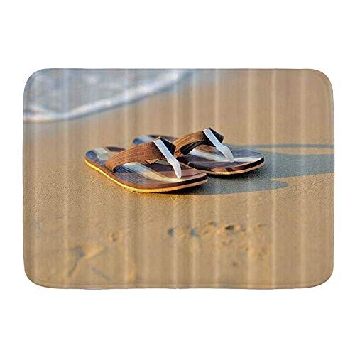 Fußmatten, Flip Flop Sommerferien Flip Flops Sandy Ocean Beach Blau, Küchenboden Badteppich Matte Saugfähig Innen Badezimmer Dekor Fußmatte Rutschfest