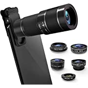 Phone Camera Lens Kit, 6 in 1 Cell Phone Camera Lens with 18X Zoom Telephoto Lens/Fisheye/Wide Angle& Macro Lens(Screwed Together)/Telephone Lens/CPL, Compatible iPhone, Samsung & More