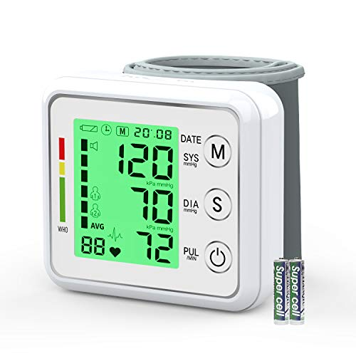 Oudekay Blutdruckmessgerät für das Handgelenk, digital, automatische Messung des Blutdrucks mit Herzfrequenz, Pulserkennung, großes LCD-Display mit 3 Farben, 2 Benutzermodus mit 198 Speicherkapazität.