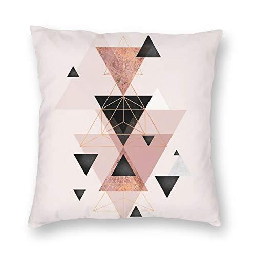 Meius - Funda de cojín con diseño de triángulos geométricos en rubor y oro rosa, terciopelo suave, decorativa, cuadrada, funda de almohada para sala de estar, sofá o dormitorio con cremallera invisible de 20 x 20 pulgadas