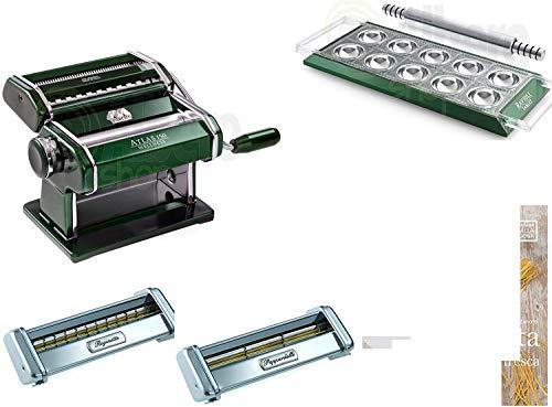 MARCATO. Set Atlas 150Grün + Ravioli Tablet Grün + 2Aufsätze für Pasta (Reginette und Pappardelle) + Buch Pasta Fresh