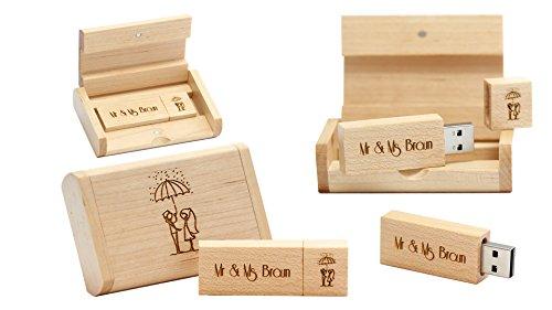 Preisvergleich Produktbild Ihr persönlich gestalteter USB Memory Stick 32GB von EVA VALLENTINO. Der USB 3.0 Holz Ahorn Rechteckig Eco Speicherstick,  ist das ideale Speichermedium für Architekten,  Lehrer,  Fotografen