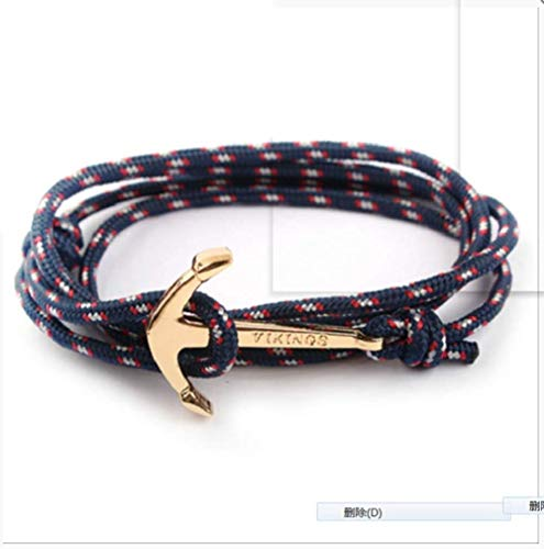 BMGFEW Armband Armband Mode Schwarz Anker Armband Männer Charme Überlebensseil Armband Herren Tasche Metall Sporthaken