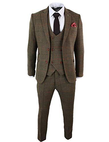 UMISS Herren Plaid Revers Anzug Jacke Weste & Hose 3-teiliges Anzugset