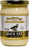 Rendering s Duck Fat - Pasture Raised - Cage Free - Completely Pure - No Added Ingredients - Cooking, Baking and Frying, 11 oz Jar