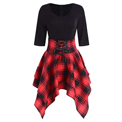 MERICAL Sommerkleid, Kariertes Popdesign & unregelmäßiger Rock & Mini-Rundhalsausschnitt(Rot,Small)