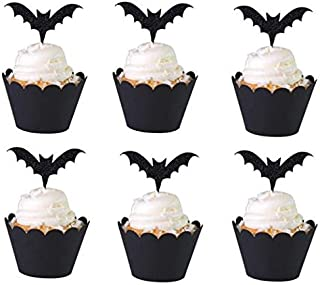 Halloween Cupcake Toppers Cupcake Liners 12 Pcs Party Supplies Bat Cake Decorations