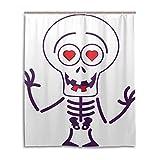 Cute Kawaii Skeleton Cortinas de Halloween en el baño Duraderas Impermeables con 12 Ganchos Cortina de Ducha de bañera para duchas de bañera Lavable a máquina