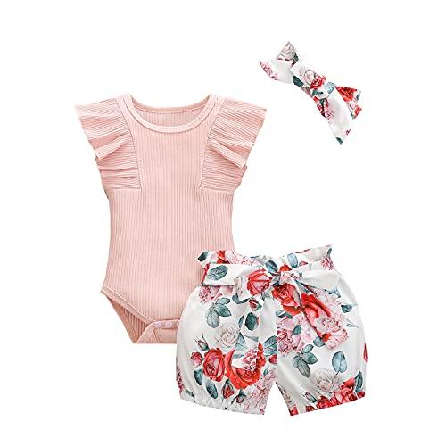 Psafagsa Conjunto de manga corta para niña con volantes + pantalones cortos + juego de 3 piezas con diadema, 0-24 meses Rosa 0- 6 meses