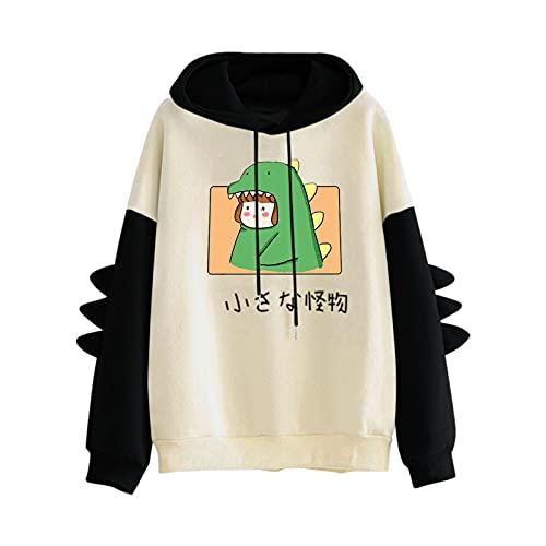 Pianshanzi Hoodies - Sudadera con capucha para adolescentes y niñas con estampado de patchwork, de manga larga, con capucha, C negro., M