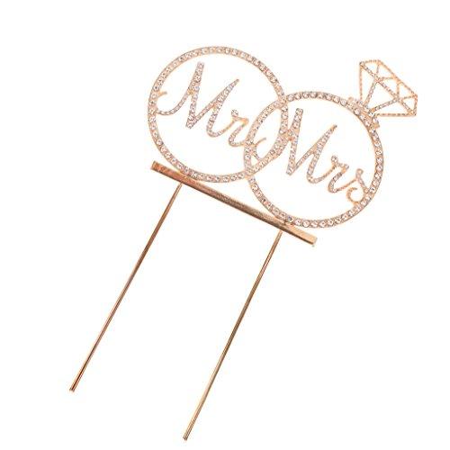 Blesiya Mr et Mrs Cupcake Topper Strass Cristaux Bâtonnet Nourriture Déco Anniversaire Mariage Fiançailles - Or #02