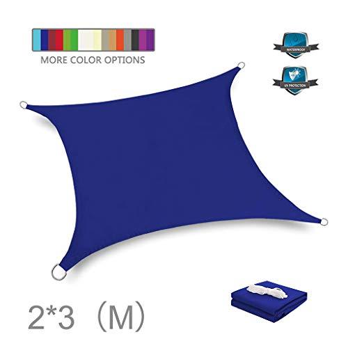 huiingwen Toldo impermeable con bloqueador de rayos UV para patio, bloque de punto de poliéster, pérgola para cochera, rectangular, 6,5 x 9,8 pies, color azul
