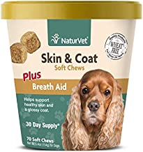 NaturVet – Skin & Coat Plus Breath Aid for Dogs – 70 Soft Chews – Supports Healthy Skin & Glossy Coat – Enhanced with Omega-3, Omega-6 & Biotin – 30 Day Supply