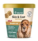 NaturVet  Skin & Coat Plus Breath Aid for Dogs  70 Soft Chews  Supports Healthy Skin & Glossy Coat  Enhanced with Omega-3, Omega-6 & Biotin  30 Day Supply