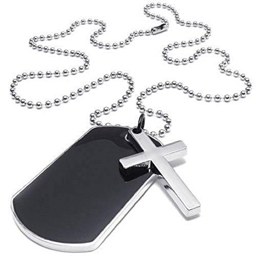 SODIAL(R) Collar Collar de joyeria de Hombres y Mujeres, de Cruz de Perro de Estilo de Las Placas de identificacion del Ejercito Pendiente de Etiqueta con la Cadena de 68cm