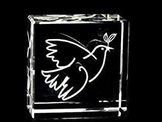 Asfour Crystal 1162-50-150 2 L x 2 H x 1 W in. Crystal Laser-Engraved Dove Animals and Nature Laser-Cut